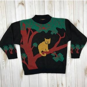 <Vintage> Cat Sweater In Tree Kitsch Cute Hipster